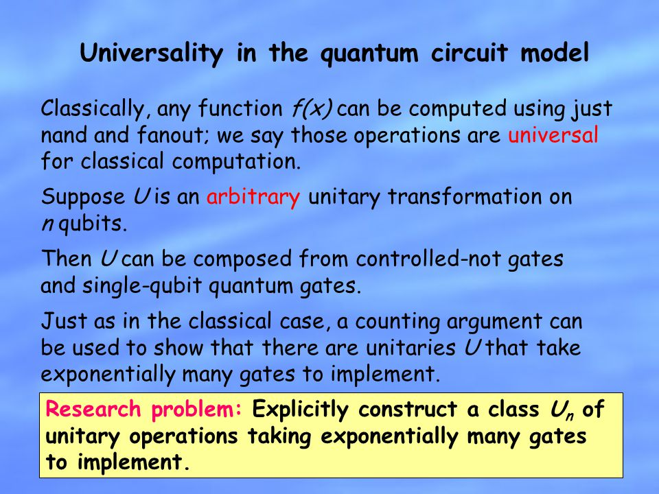 Universality in the quantum circuit model