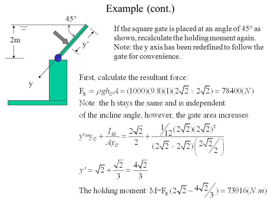 Example (cont.) 45°