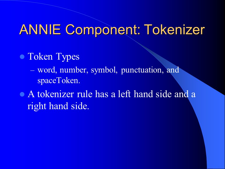 ANNIE Component: Tokenizer