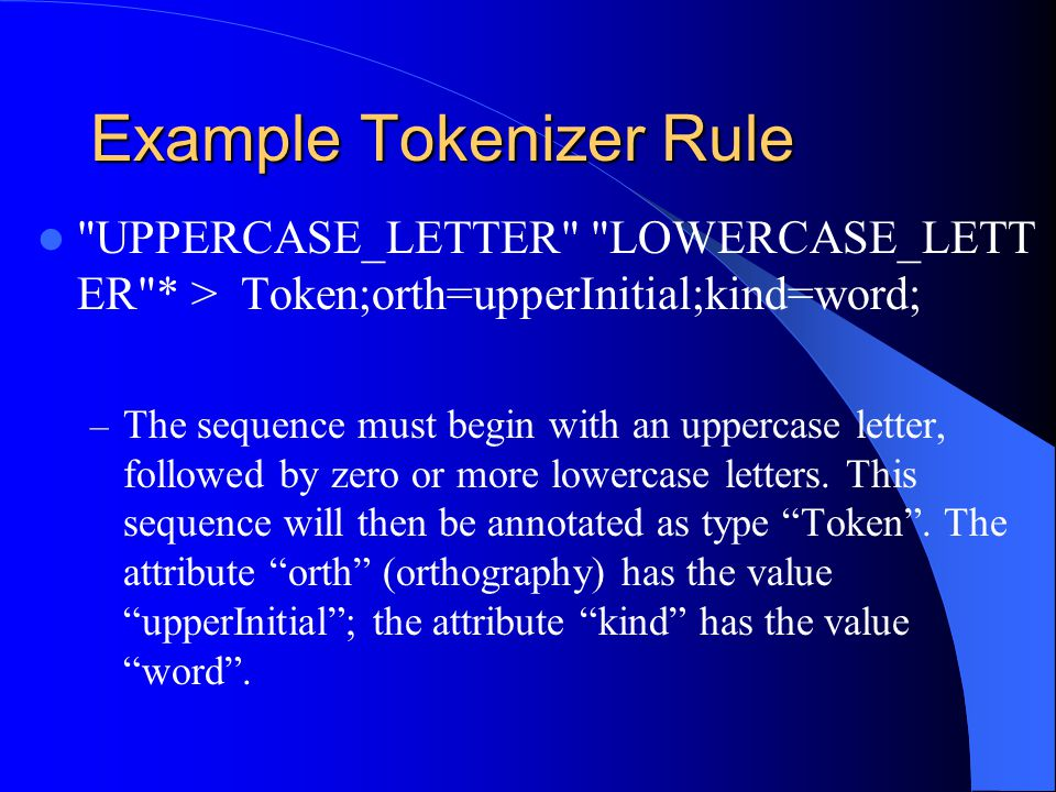 Example Tokenizer Rule