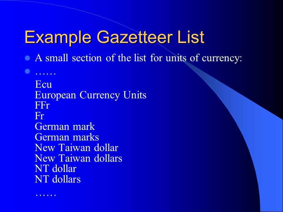 Example Gazetteer List