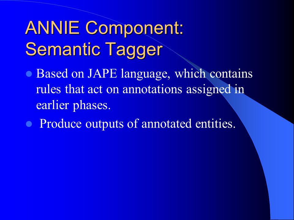 ANNIE Component: Semantic Tagger
