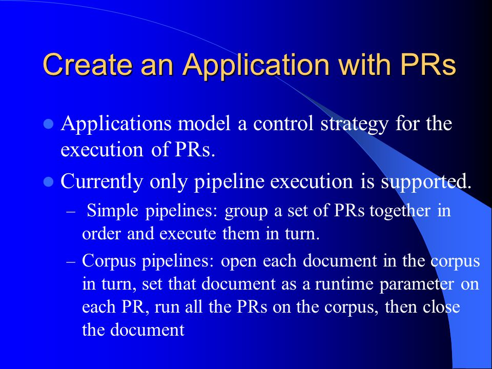 Create an Application with PRs