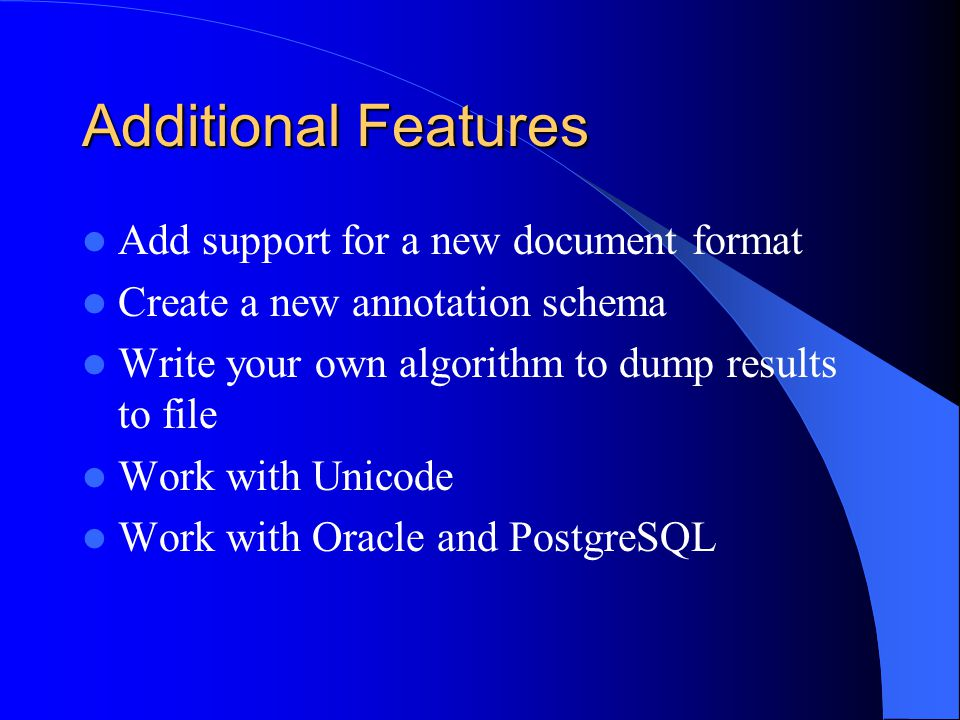 Additional Features Add support for a new document format