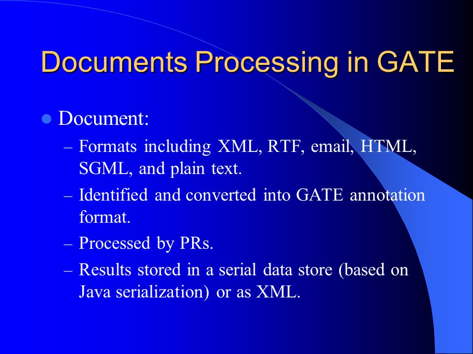 Documents Processing in GATE