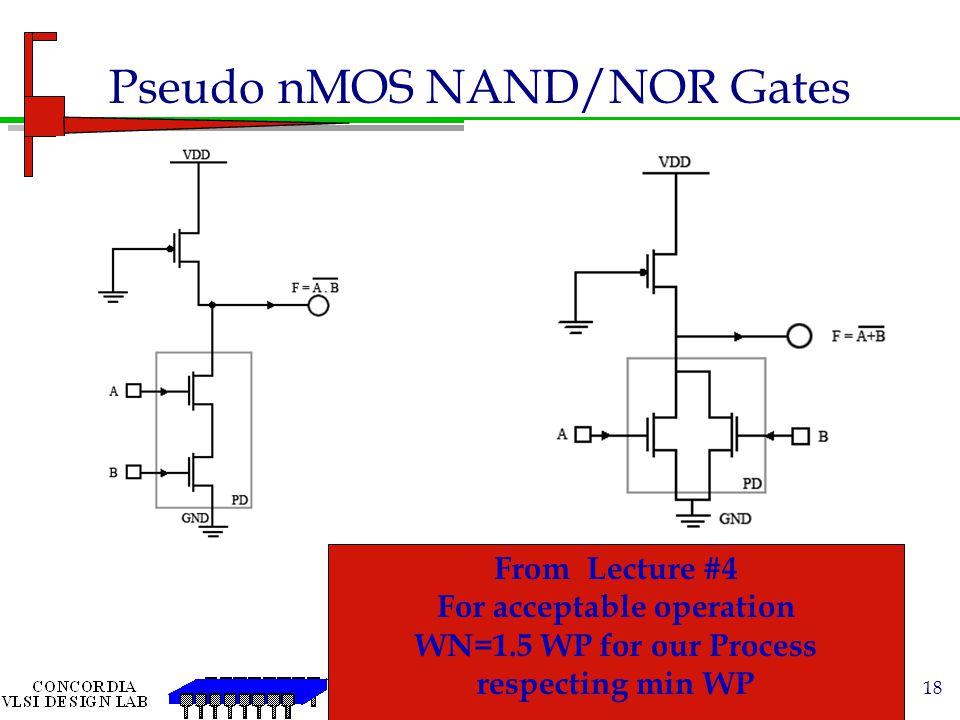 Pseudo nMOS NAND/NOR Gates