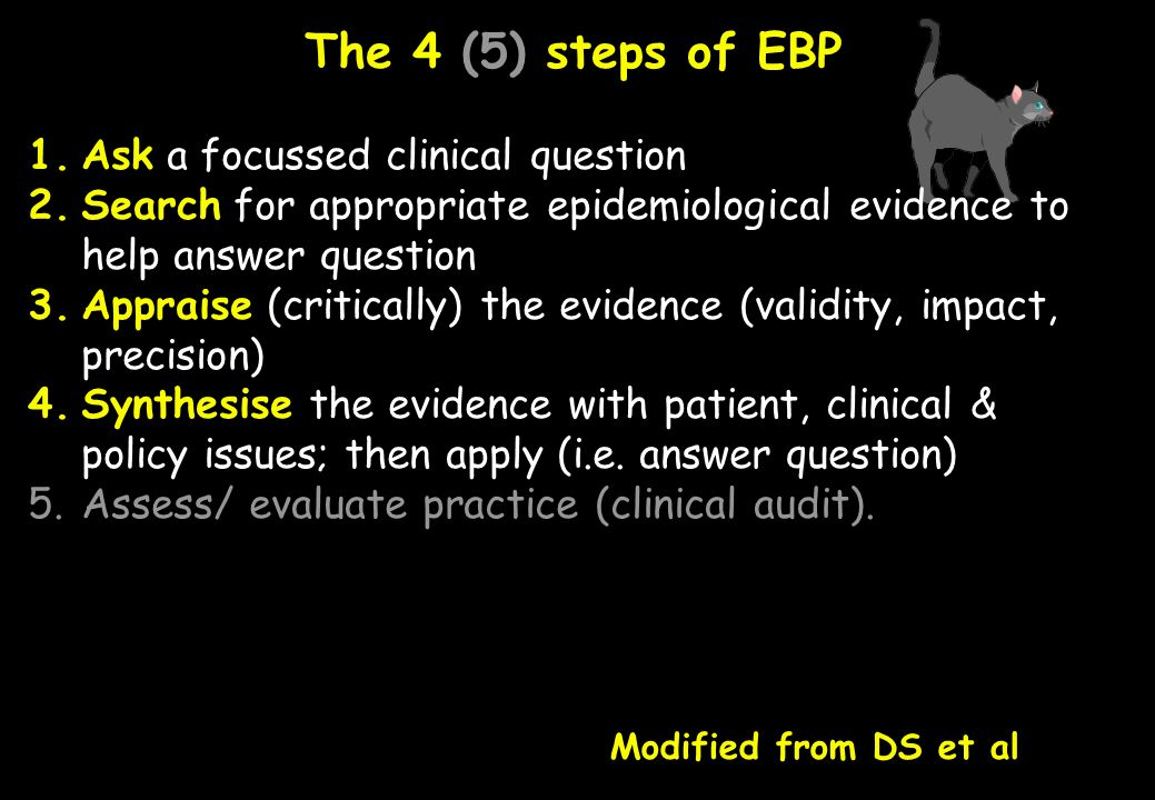 The 4 (5) steps of EBP Ask a focussed clinical question
