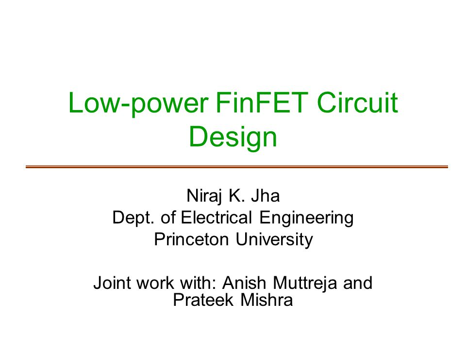 Low-power FinFET Circuit Design