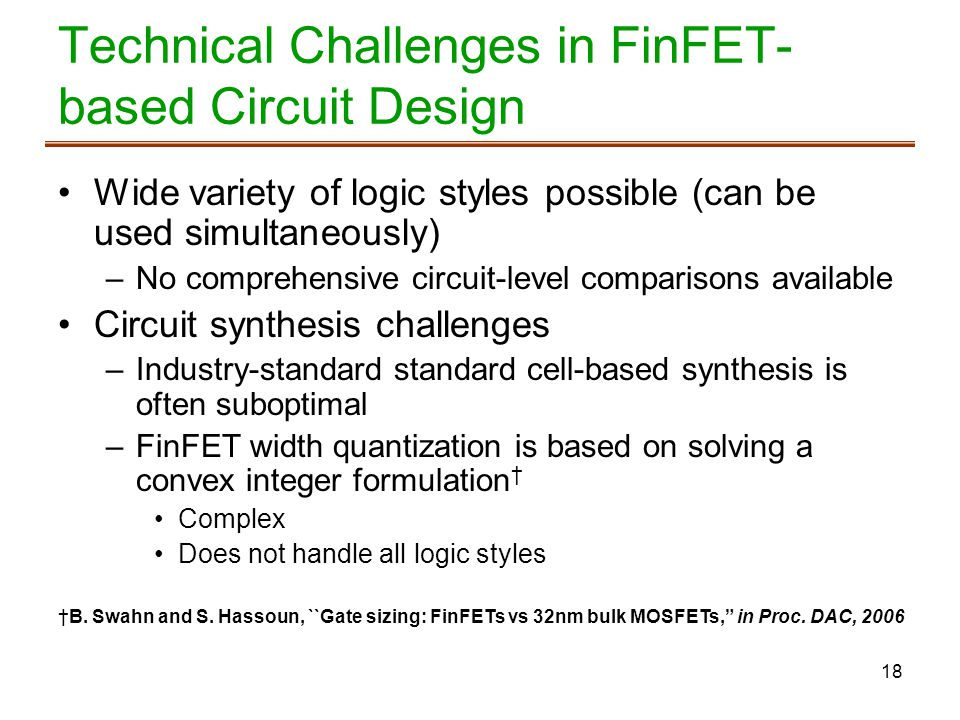 Technical Challenges in FinFET-based Circuit Design