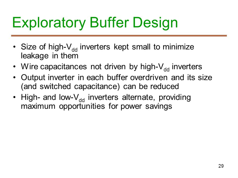 Exploratory Buffer Design