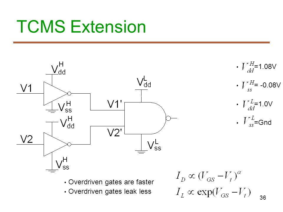 TCMS Extension =1.08V = -0.08V =1.0V =Gnd Overdriven gates are faster