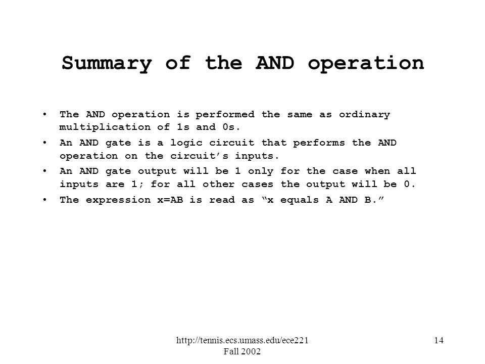 Summary of the AND operation