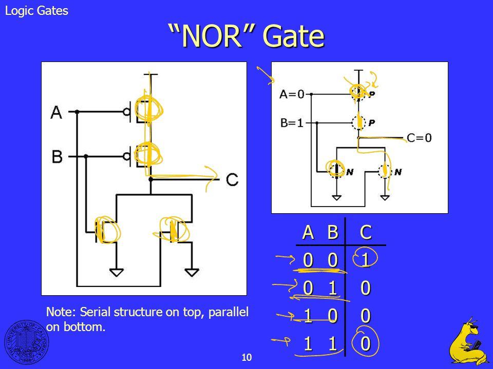 NOR Gate A B C 1 Logic Gates
