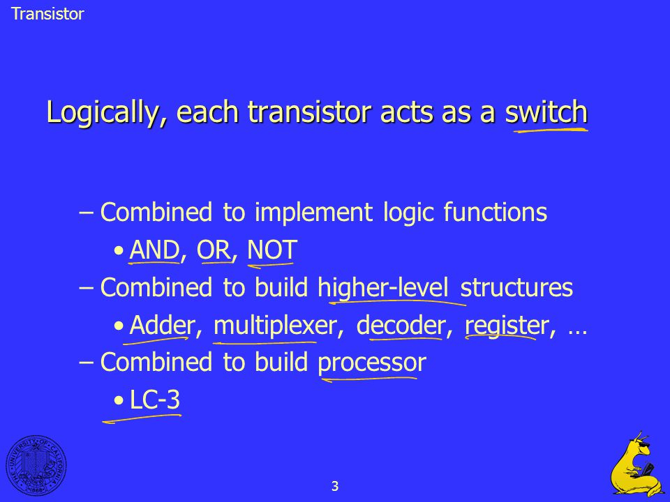 Logically, each transistor acts as a switch