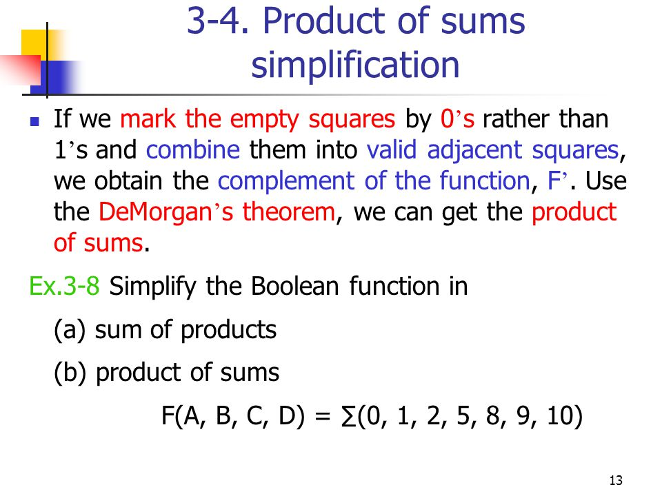 3-4. Product of sums simplification