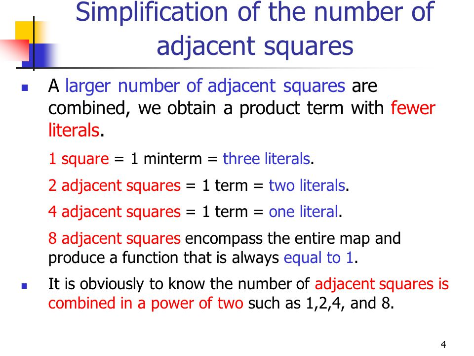 Simplification of the number of adjacent squares