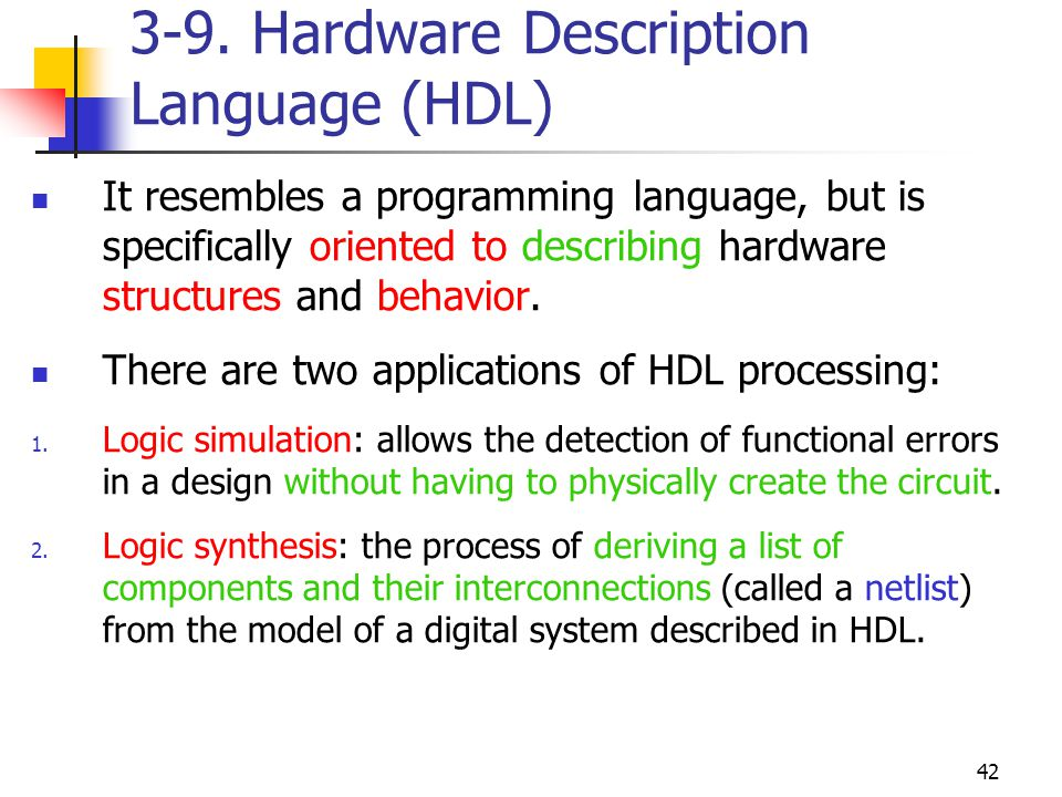 3-9. Hardware Description Language (HDL)