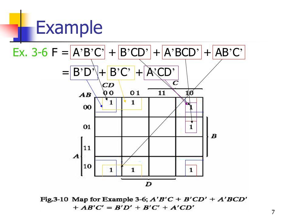 Example Ex. 3-6 F = A'B'C' + B'CD' + A'BCD' + AB'C' = B'D' + B'C' +