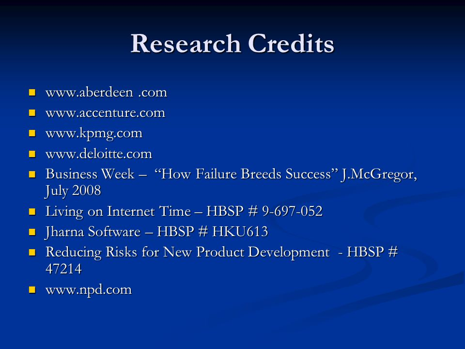 Research Credits www.aberdeen .com www.accenture.com www.kpmg.com