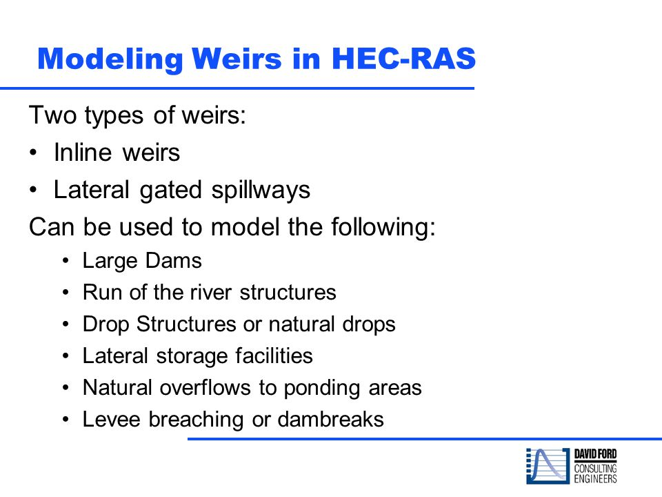 Modeling Weirs in HEC-RAS