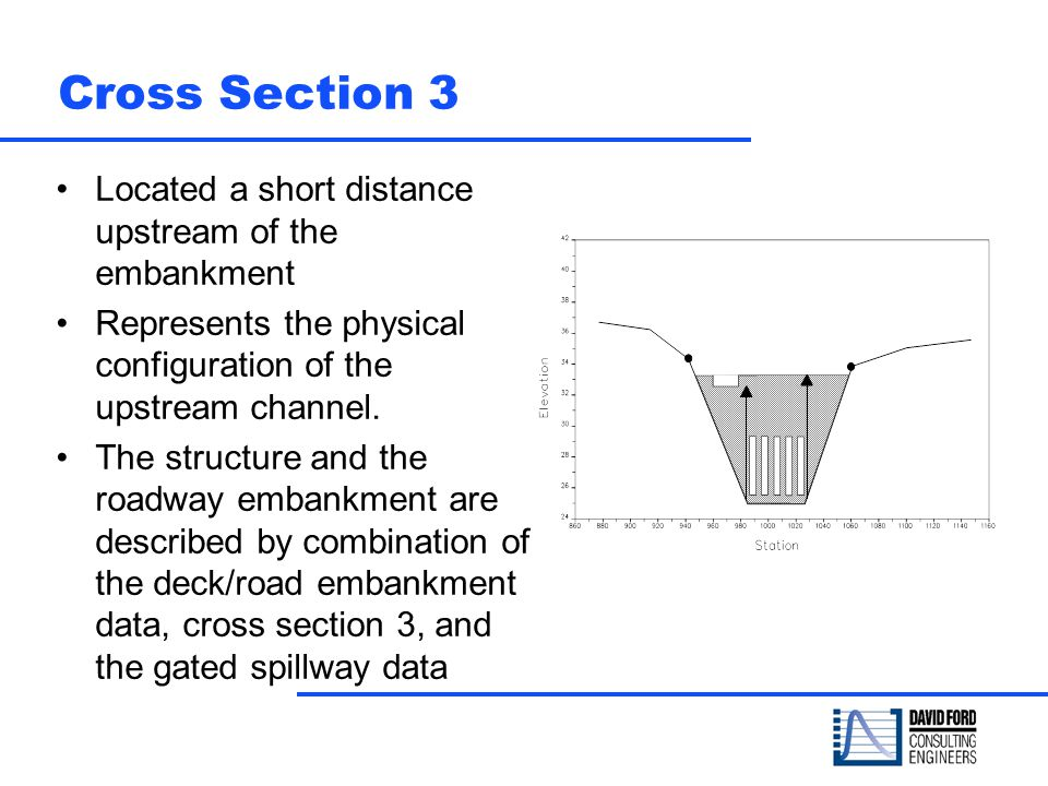 Cross Section 3 Located a short distance upstream of the embankment