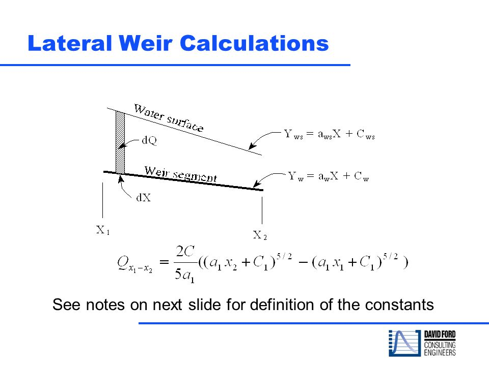 Lateral Weir Calculations