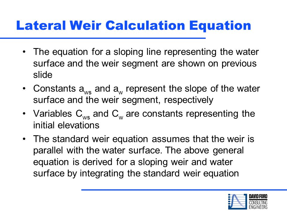 Lateral Weir Calculation Equation