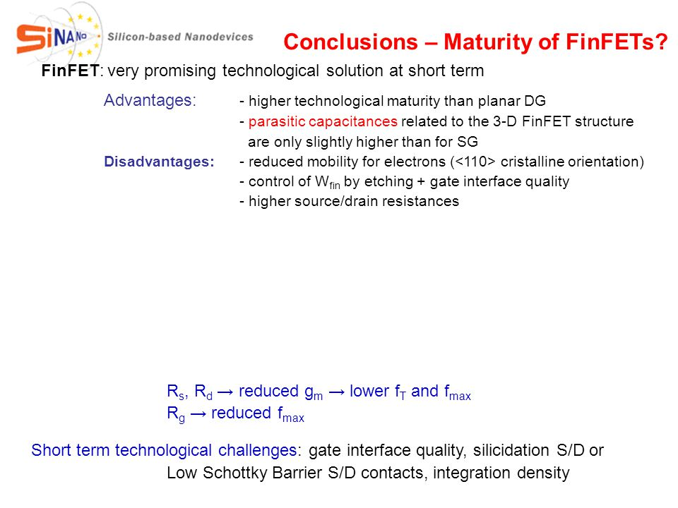 Conclusions – Maturity of FinFETs