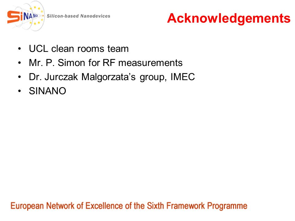 Acknowledgements UCL clean rooms team Mr. P. Simon for RF measurements