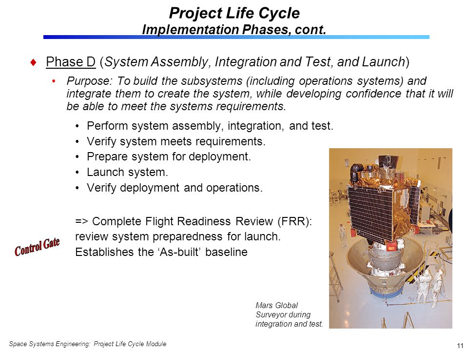 Project Life Cycle Implementation Phases, cont.