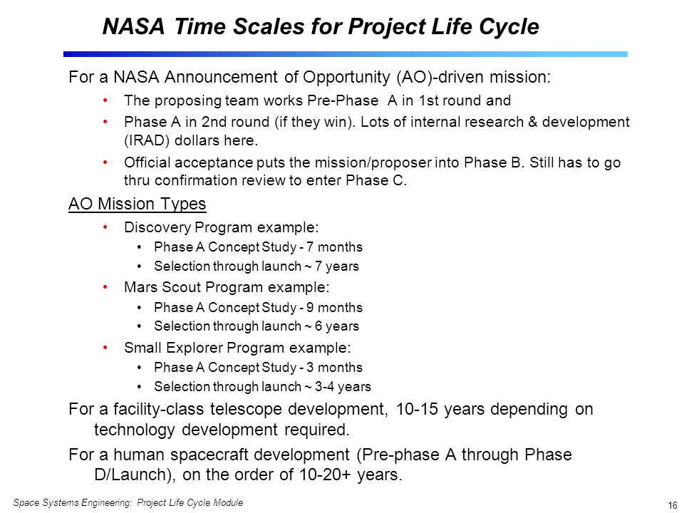 NASA Time Scales for Project Life Cycle