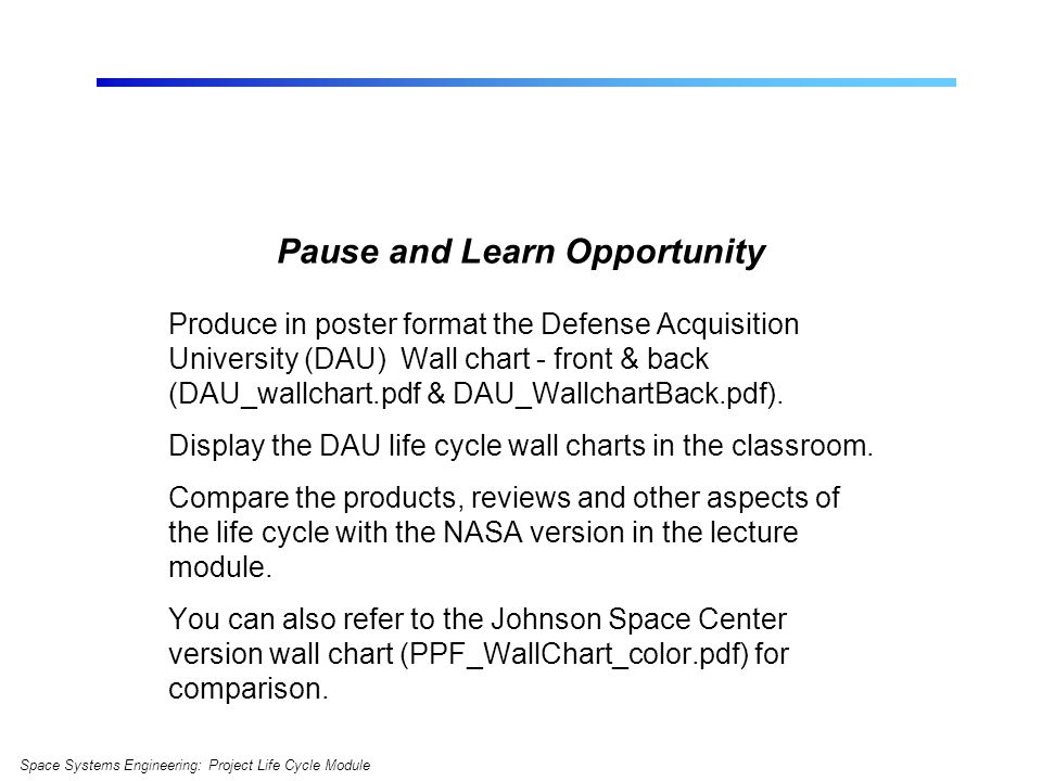 Pause and Learn Opportunity