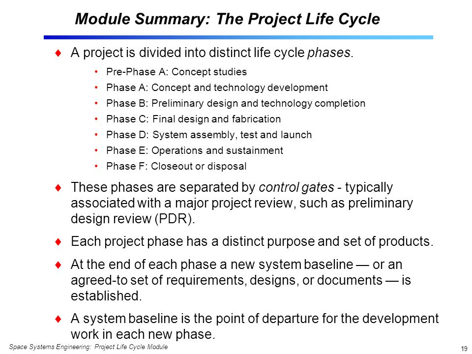 Module Summary: The Project Life Cycle