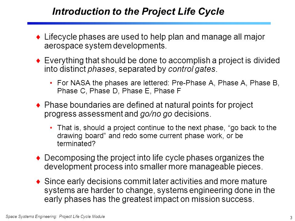Introduction to the Project Life Cycle