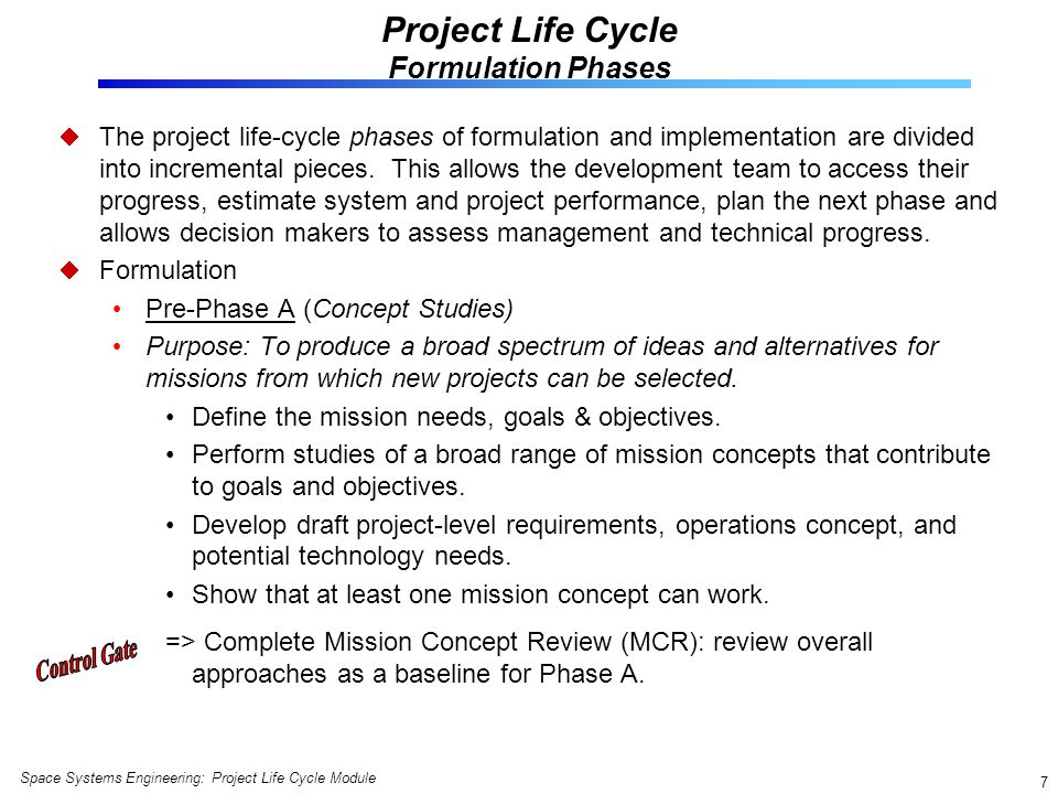 Project Life Cycle Formulation Phases