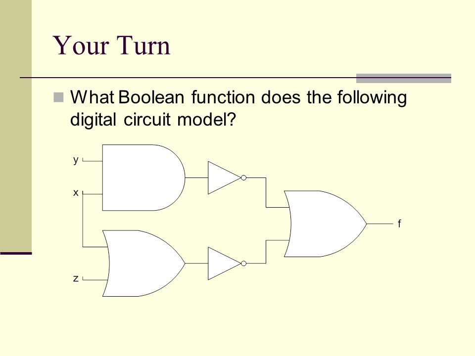 Your Turn What Boolean function does the following digital circuit model