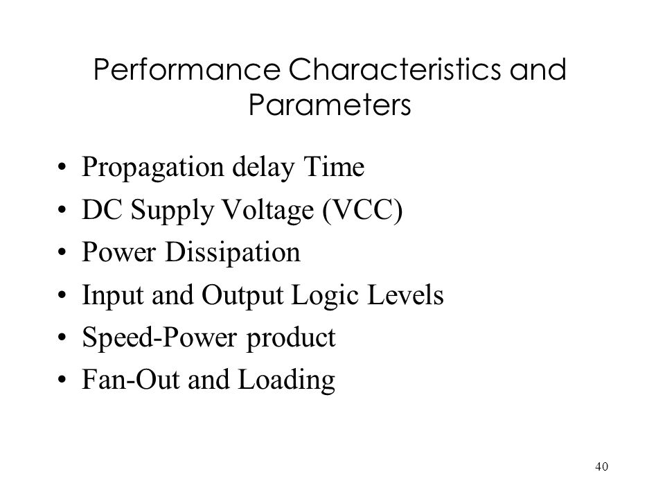 Performance Characteristics and Parameters