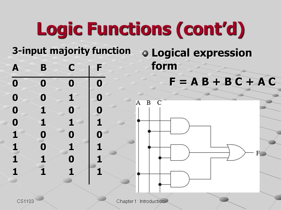 Logic Functions (cont'd)