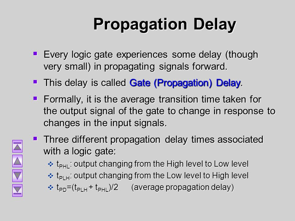 Propagation Delay Every logic gate experiences some delay (though very small) in propagating signals forward.