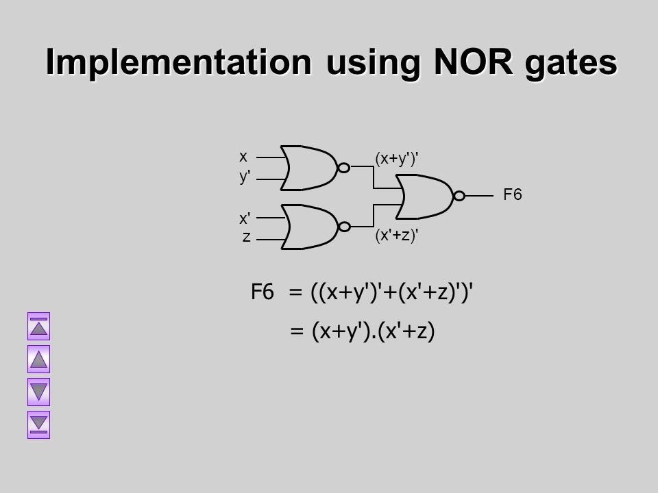 Implementation using NOR gates