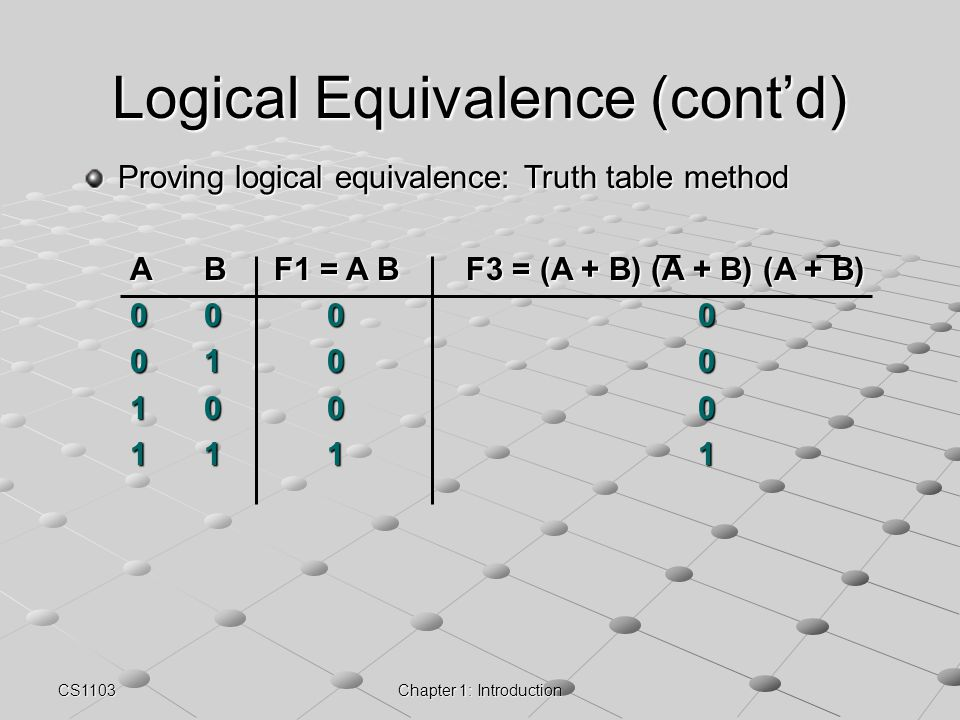 Logical Equivalence (cont'd)