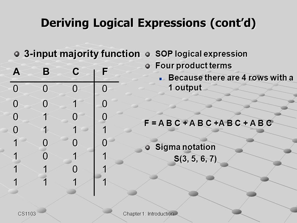 Deriving Logical Expressions (cont'd)