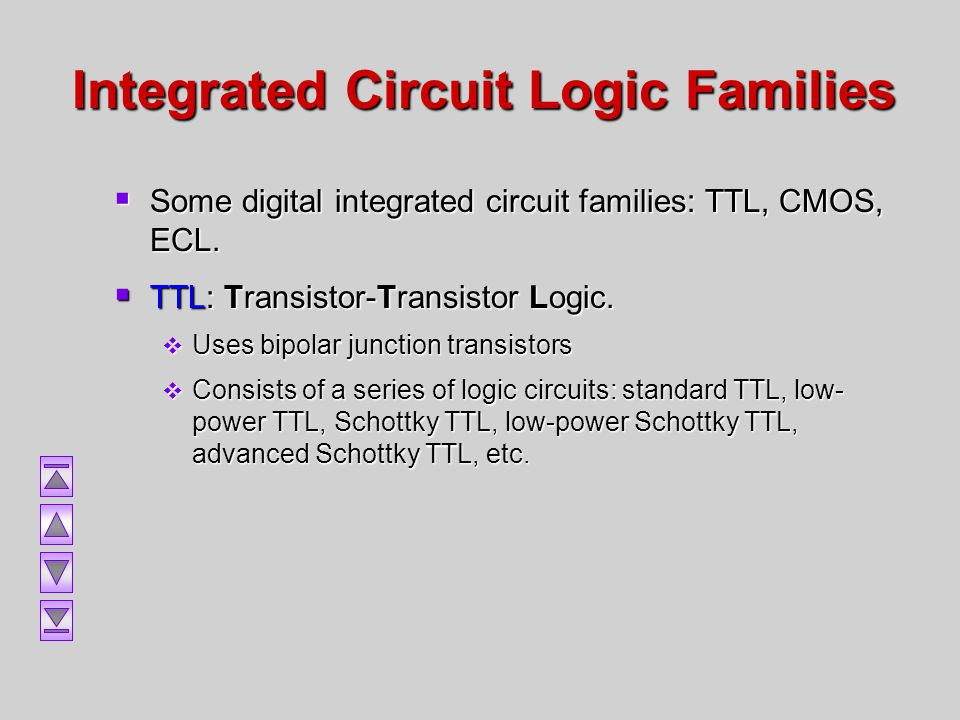 Integrated Circuit Logic Families