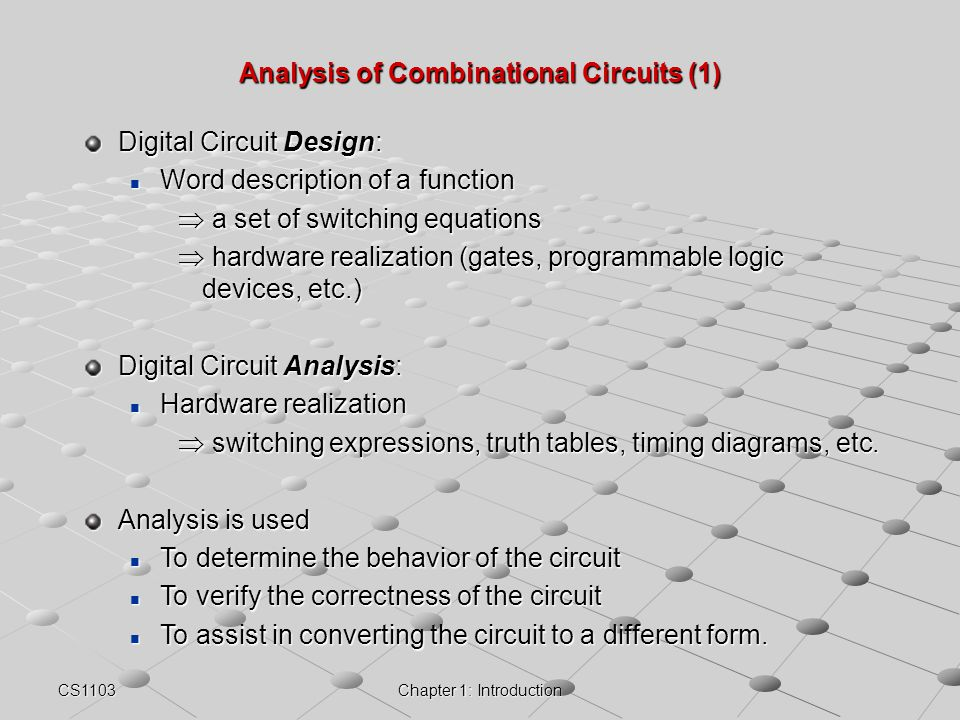 Analysis of Combinational Circuits (1)