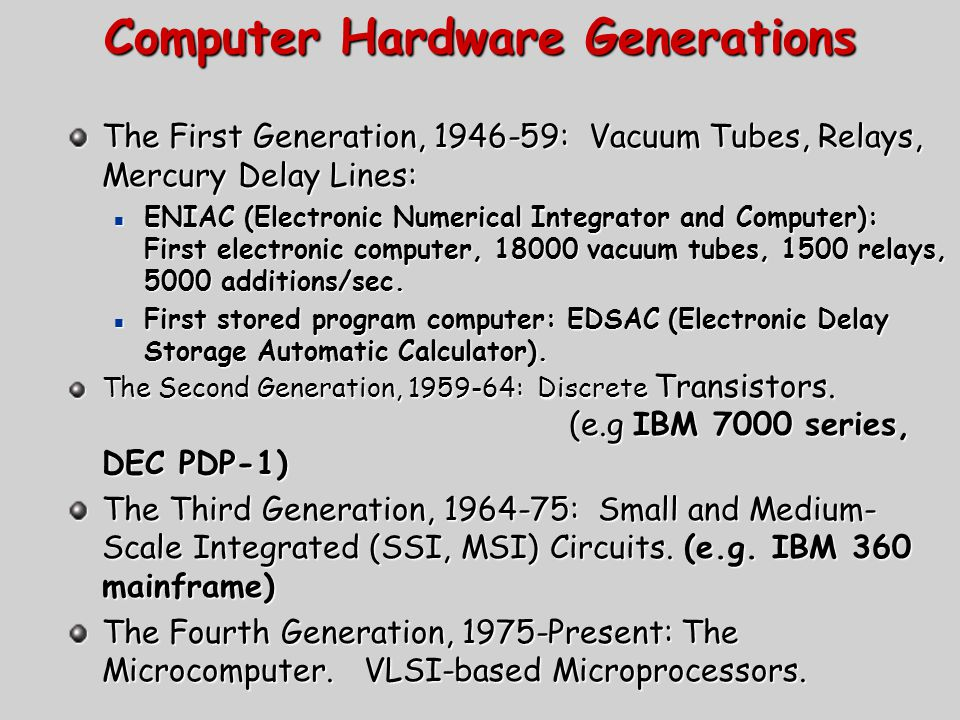 Computer Hardware Generations