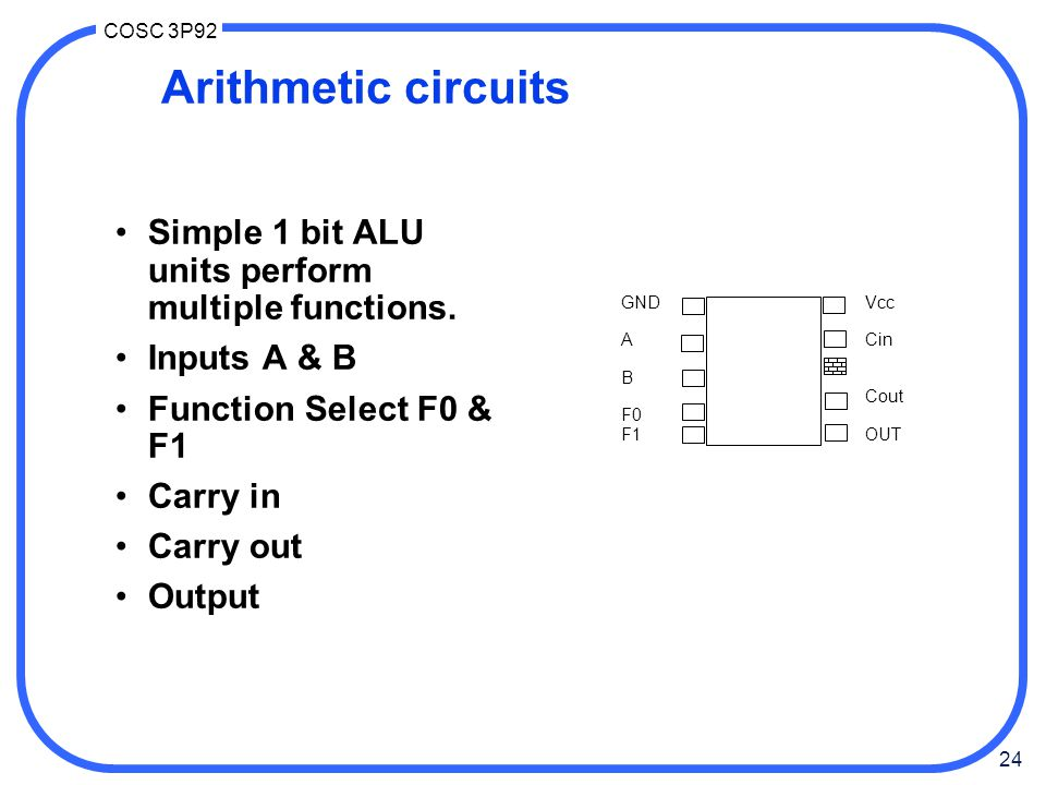 Arithmetic circuits Simple 1 bit ALU units perform multiple functions.