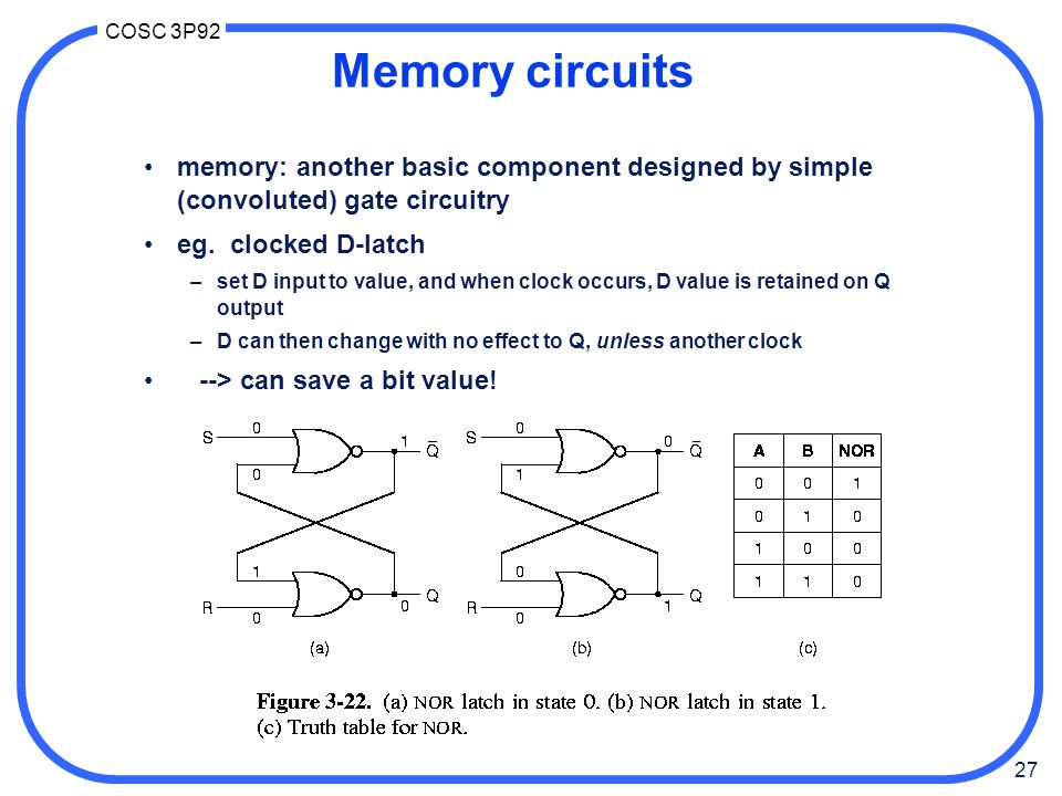 Memory circuits memory: another basic component designed by simple (convoluted) gate circuitry. eg. clocked D-latch.