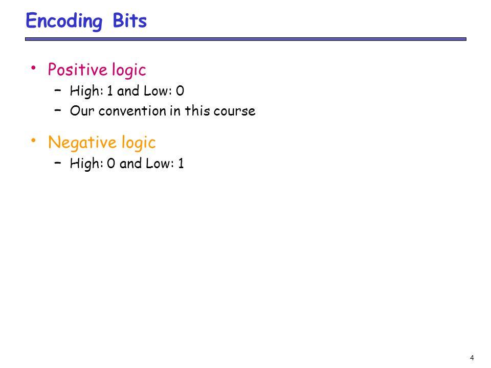 Encoding Bits Positive logic Negative logic High: 1 and Low: 0