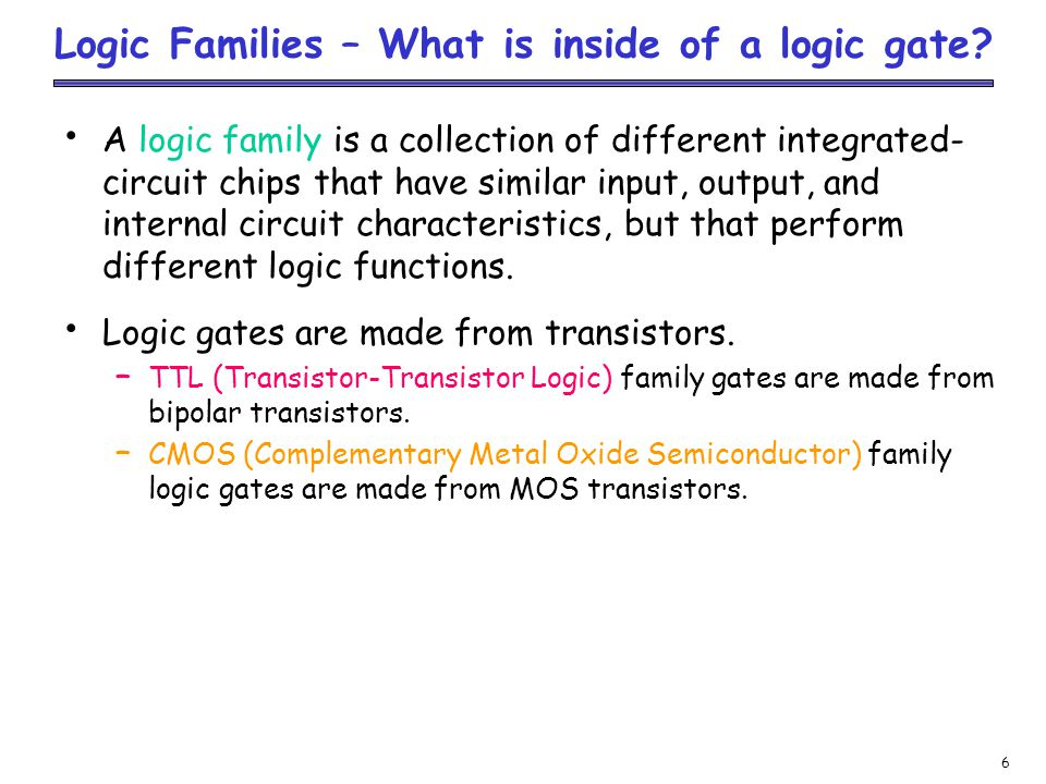 Logic Families – What is inside of a logic gate