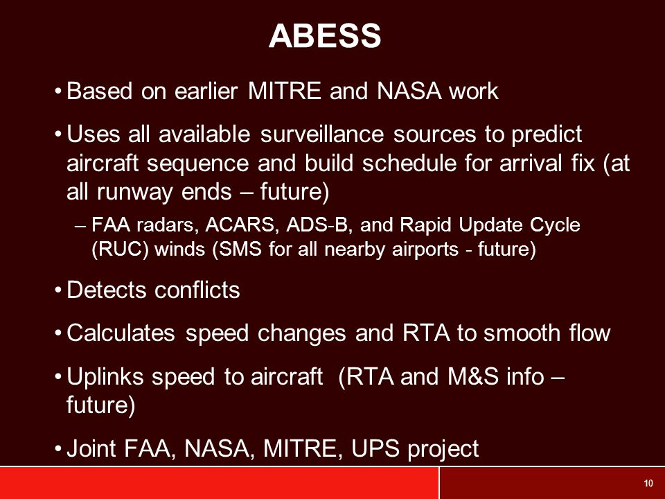 ABESS Based on earlier MITRE and NASA work